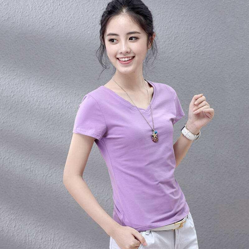 RC22 2020 mujer camisa de manga corta prenda superior purpel