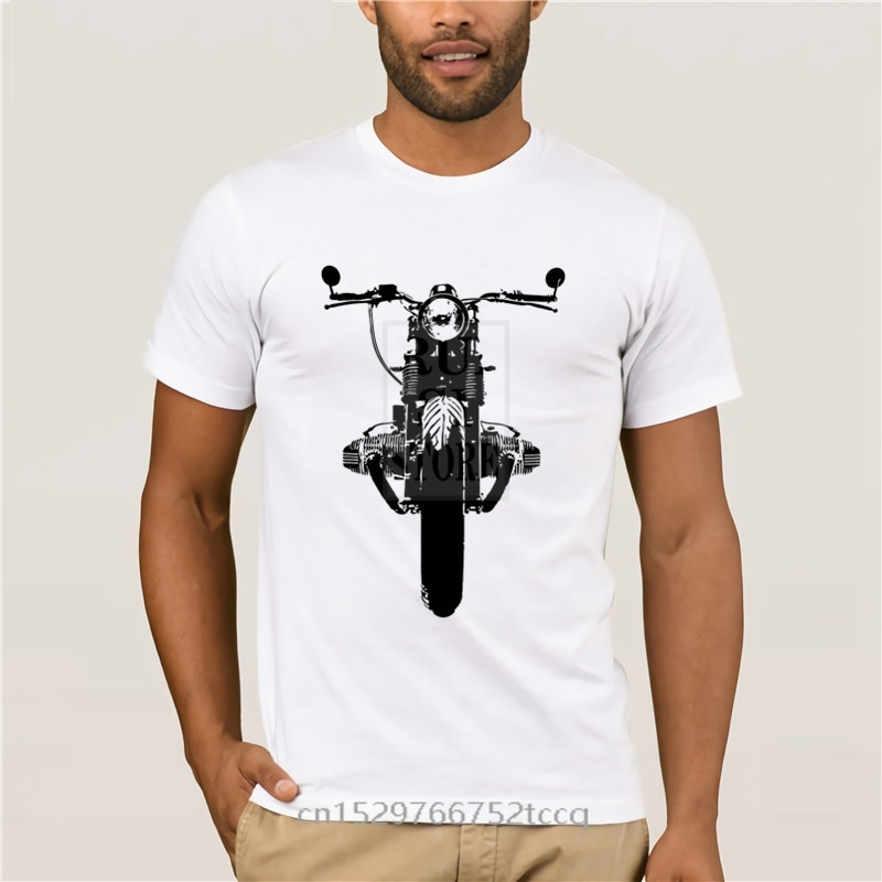 Модная мужская футболка, одежда для фитнеса, мужские кроссфиты, топы, мотоциклетная футболка для Кафе Racer R80 R65 R100, мотоциклетная Мужская футб...