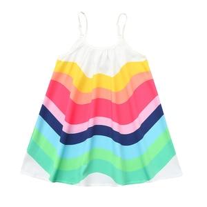 Summer Kids Girl Sleeveless dresses Rainbow Print sling Vest above knee mini jumper Dress beach clothes vestidos para bebe A40