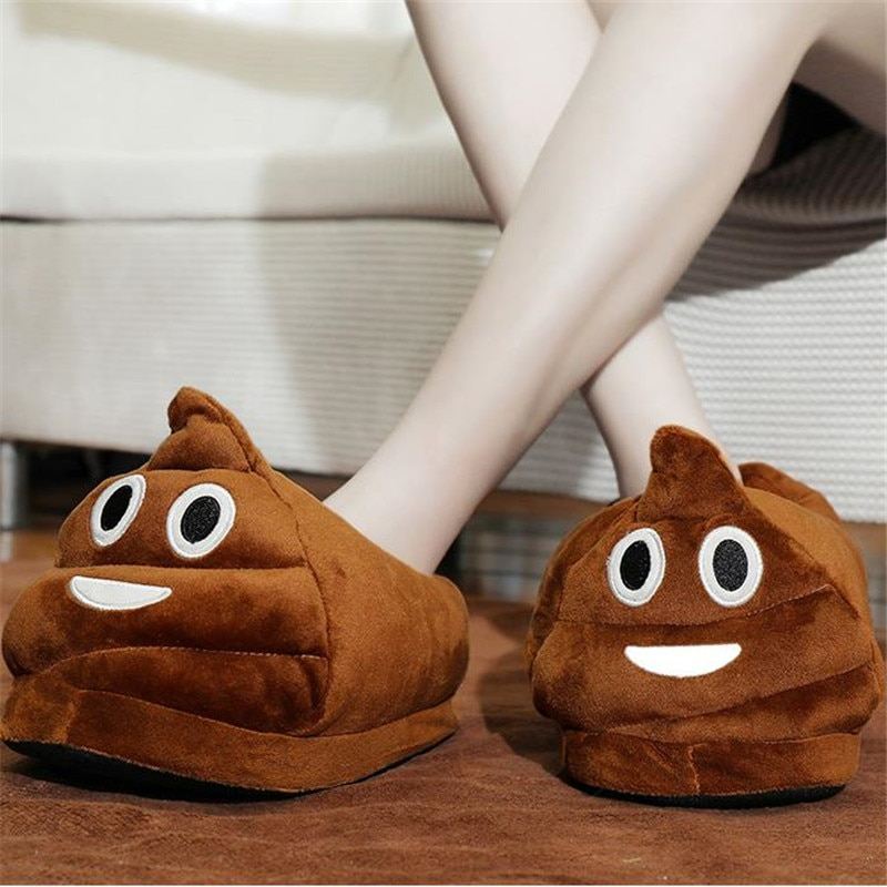 Winter Couple Cartoon Funny Poop Plush Slippers Women's All-Inclusive With Flat Home Cotton Slippers Ladies Cute House Shoes2020