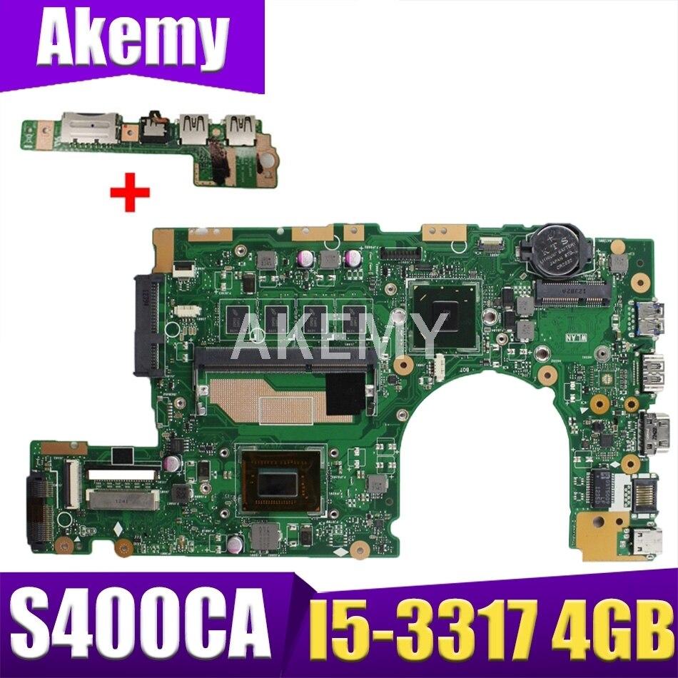 اللوحة الأم S400CA REV3.1 لأجهزة الكمبيوتر المحمول ASUS S400CA I5 -3317 CPU 4GB RAM اللوحة الأم للكمبيوتر المحمول S500C S400C S500CA اللوحة الرئيسية للكمبيوتر المحمول