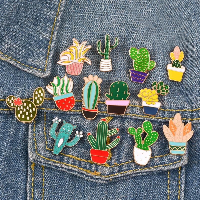 Cactus Broche con diseño de planta para mujer Broche de aleación placa...