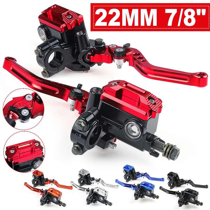 7/8'' 22mm Motorcycle Handlebar Lever Master Cylinder Hydraulic Brake Pump Clutch Reservoir For Dirt Pit Bike Scooter ATV
