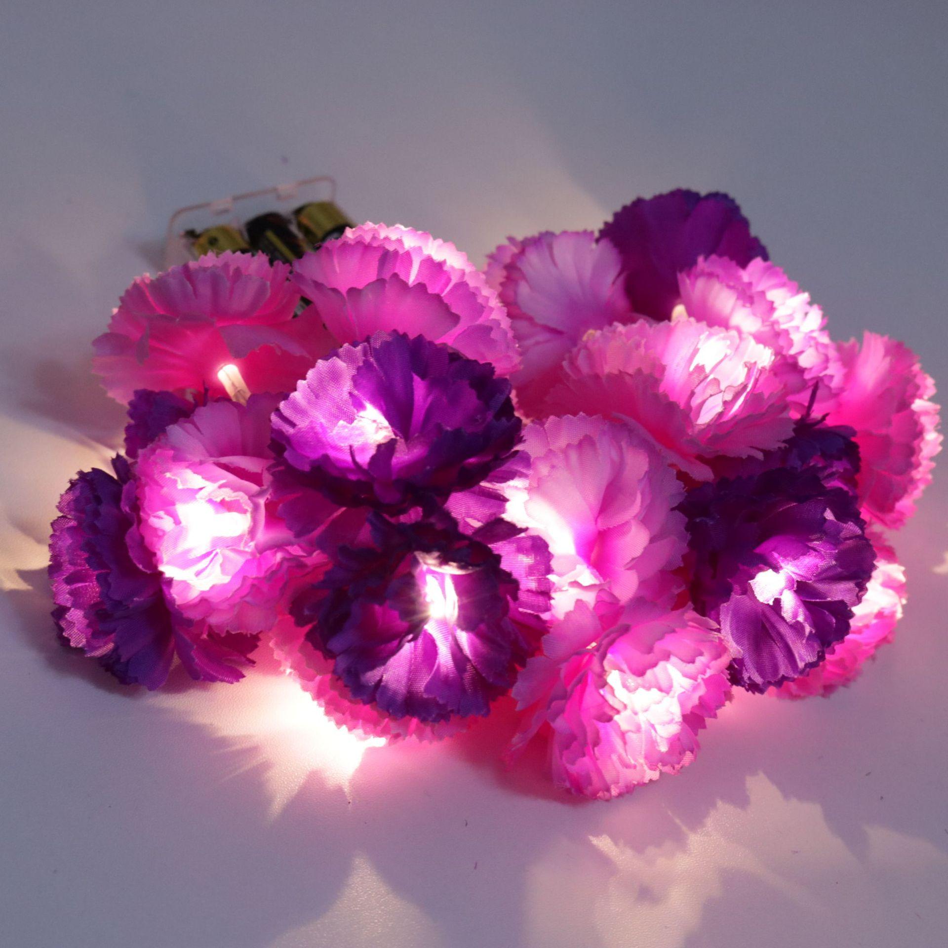 Led ضوء سلسلة الأرجواني محاكاة زهرة سلسلة مصباح الزفاف الديكور