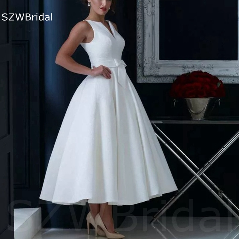 وصول جديد الخامس الرقبة الأبيض فستان سهرة قصير 2021 a-line فساتين سهرة رخيصة رداء دي سهرة دي ماريج فساتين رسمية