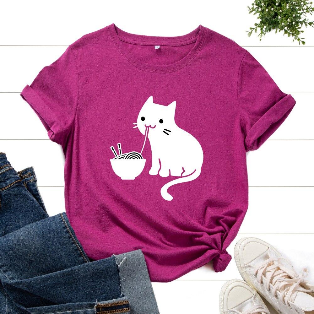 Футболка женская оверсайз с рисунком кошки съедобной лапши, хлопковая уличная одежда с коротким рукавом, топ, s одежда на лето
