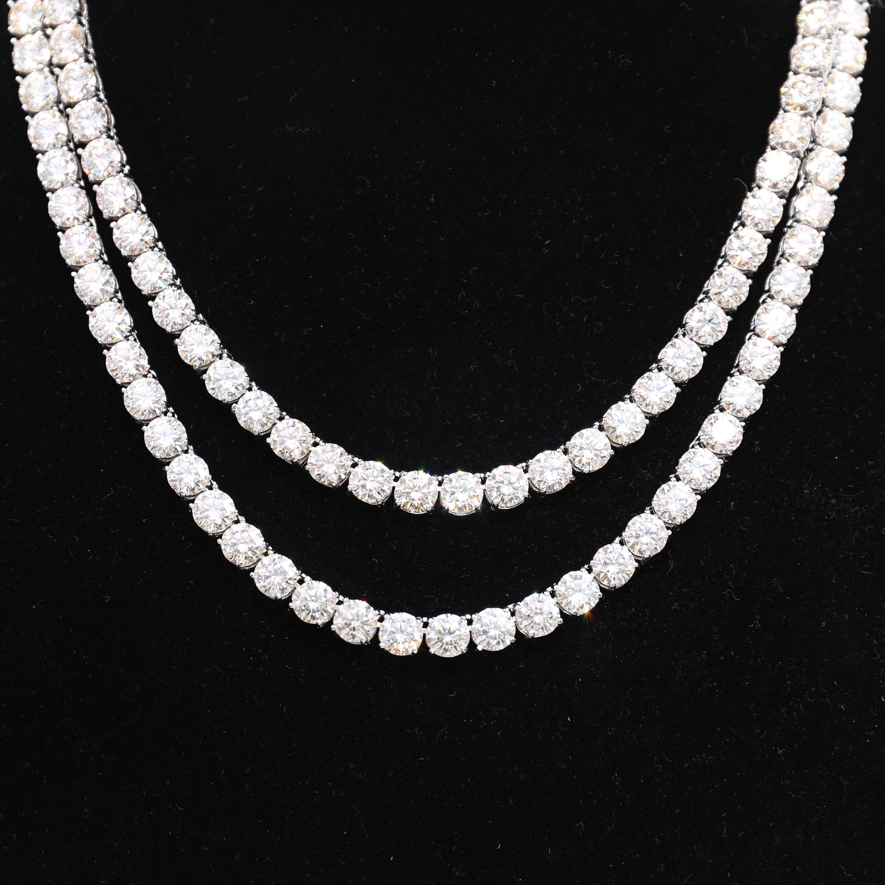 P&Y Custom S925 Sterling Silver 1 Carat 3mm 4mm 5mm Necklace Choker VVS1 Moissanite Tennis Chain For Men Women