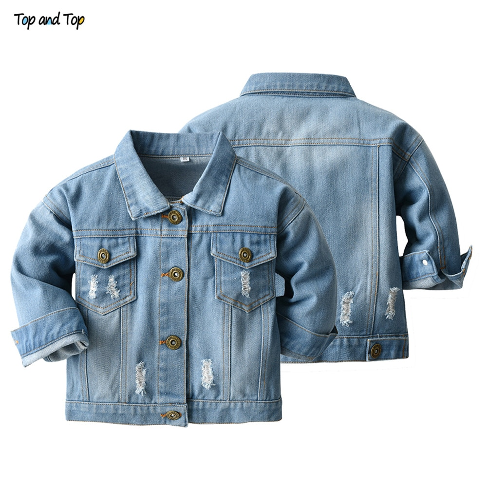 Top and Top Spring Autumn Kids Casual Jacket Girls Ripped Holes Jeans Coats Little Boys Girls Denim Outerwear Costume 12M-6Y