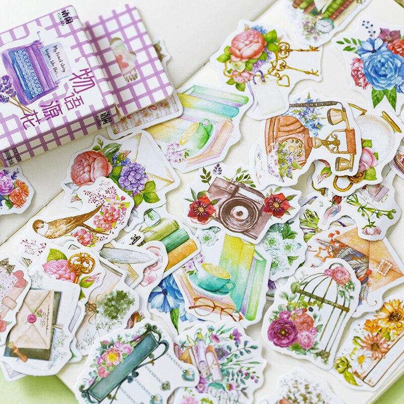50-pz-pacco-fiori-freschi-parole-album-diario-adesivi-decorativi