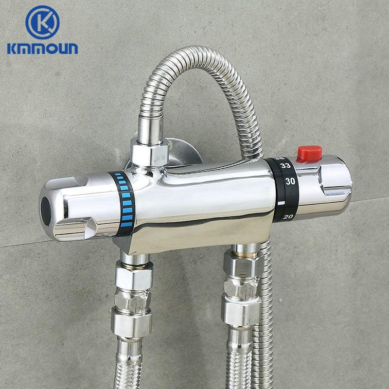 النحاس الكروم ثرموستاتي خلاط صنبور الدش صمام مقبض مزدوج حوض استحمام للاستخدام في الحمام دش صنبور الباردة/الساخنة الحائط