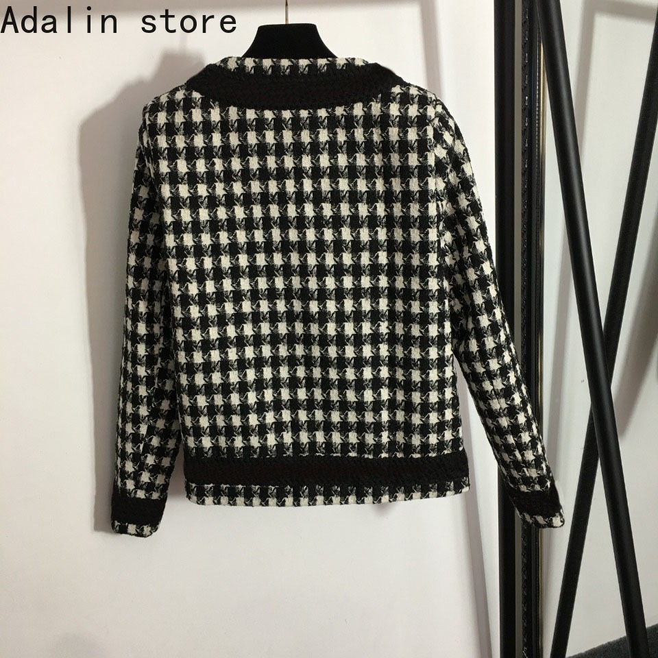 2021 high quality autumn new fashion women's letter single breasted knitted cardigan thousand bird check tweed elegant coat enlarge