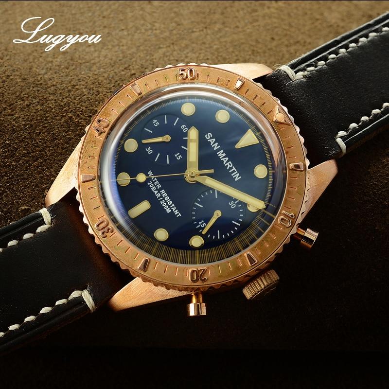 Lugyou San Martin reloj de bronce completo automático ETA 7753 200m resistente al agua cristal de zafiro correa de cuero rotar