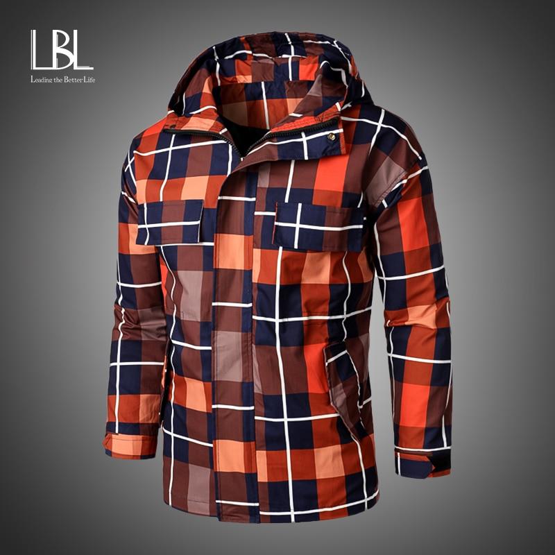 Gabardinas largas de otoño para hombres, chaquetas informales con capucha a cuadros, moda 2020, gabardinas, abrigos, chaquetas, abrigos