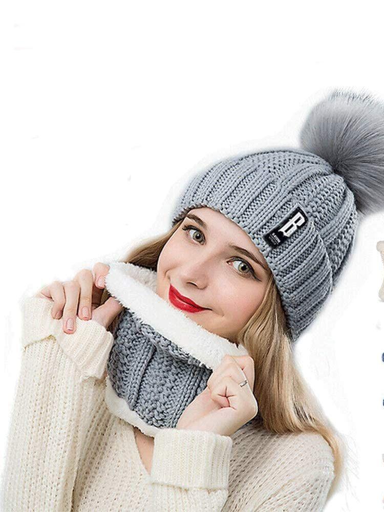 Womens Pom Beanie Hat Scarf Set Girls Cute Winter Ski Hat Slouchy Knit Skull Cap with Fleece Lined