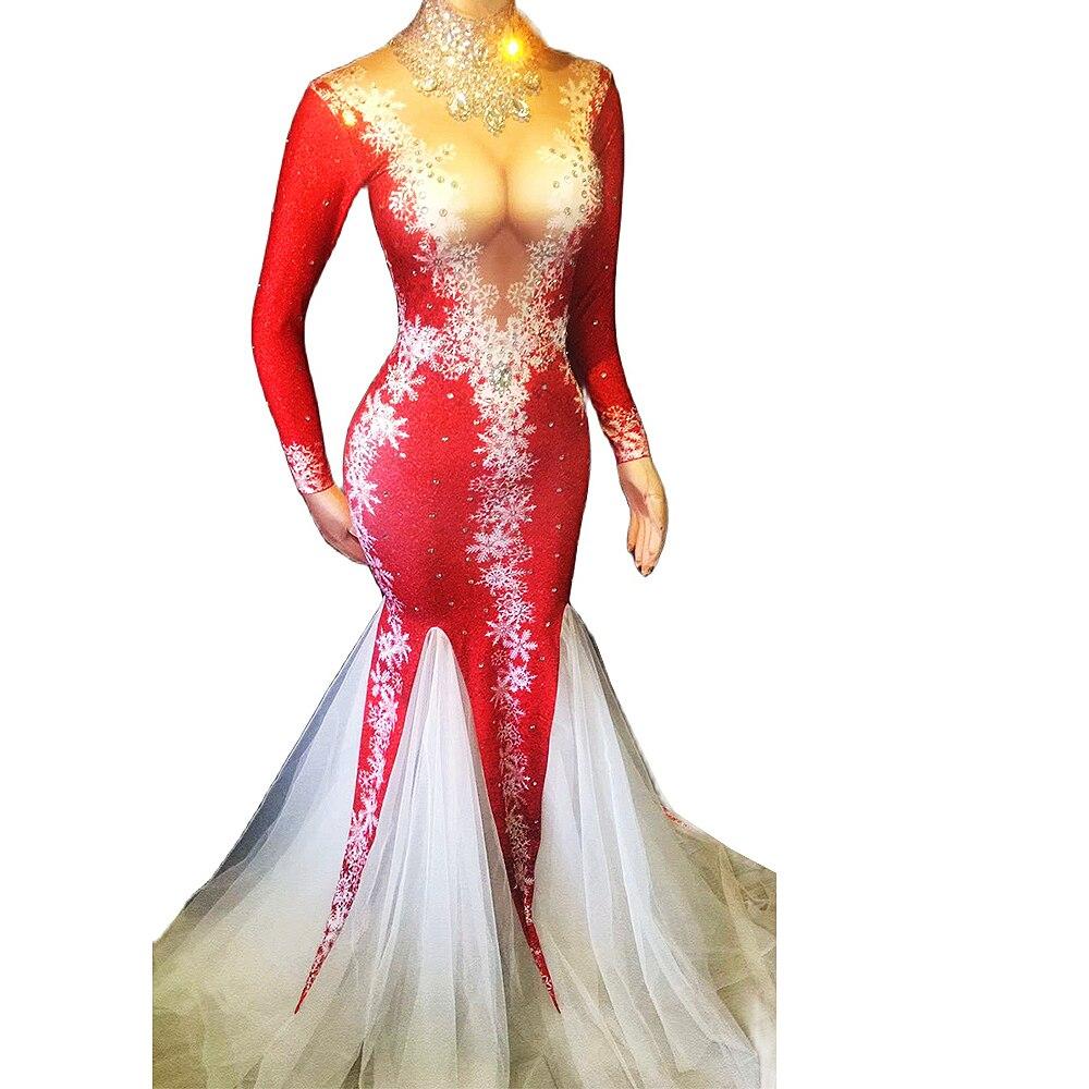 عيد الميلاد مهرجان الراين الساطع الماس فساتين ضيق تمتد المرأة عيد ميلاد الاحتفال ملهى ليلي حورية البحر فستان طويل