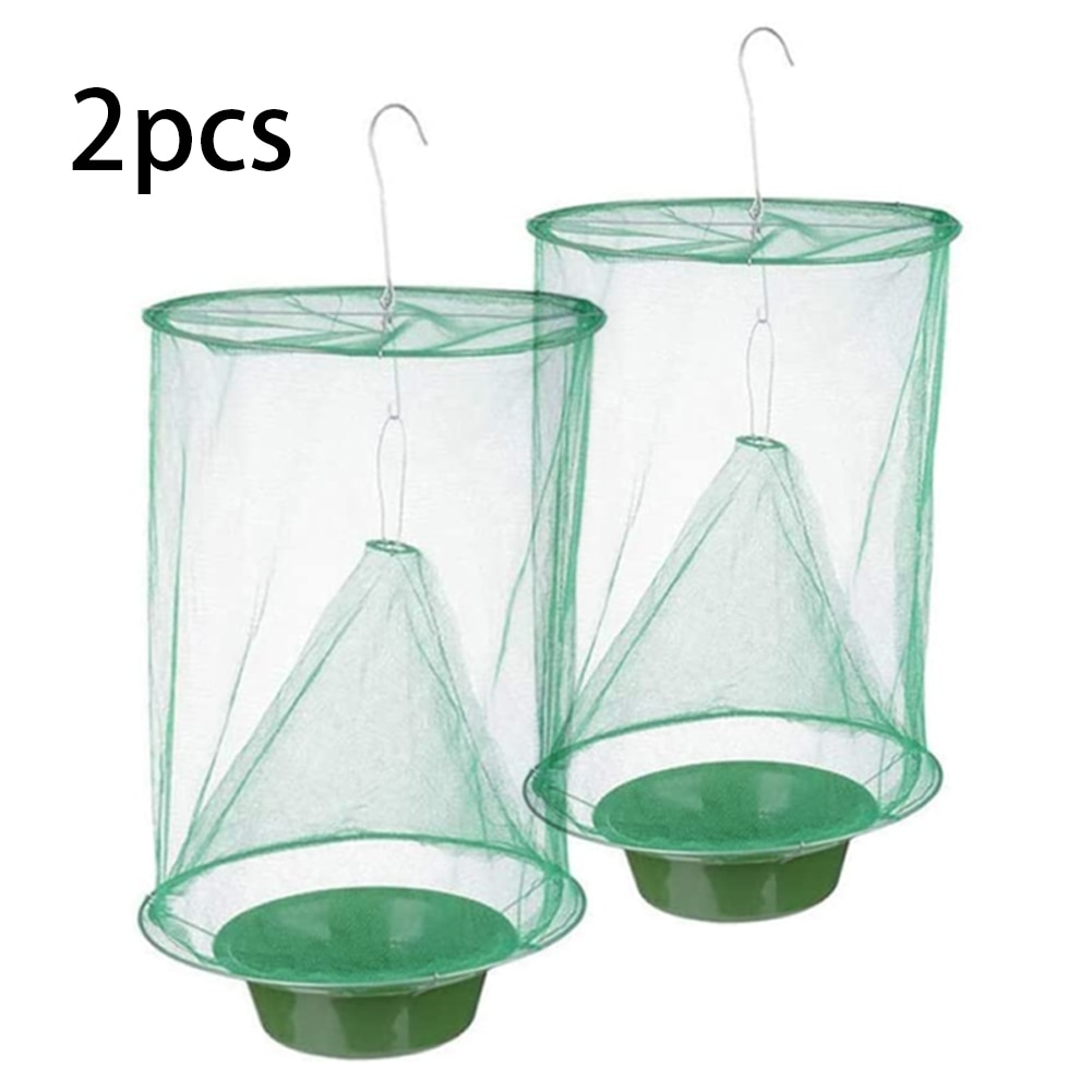 2PCS Reusable Hanging Flycatcher Folding Fly Trap Net Summer Mosquito Top Catcher Fly Wasp Insect Bug Killer Catcher