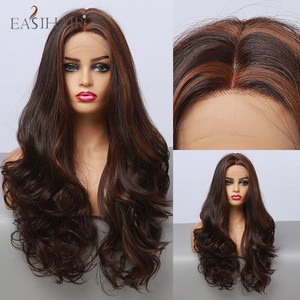EASIHAIR Black Brown Lace Front Synthetic Wigs Long Wavy Middle Part Cosplay Golden Highlight Hair Wig for Women Heat Resistant