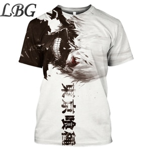 LBG anime t-shirt tokyo ghoul Harajuku style o-neck print 3D t shirt2019 summer new hip hop clothing for men