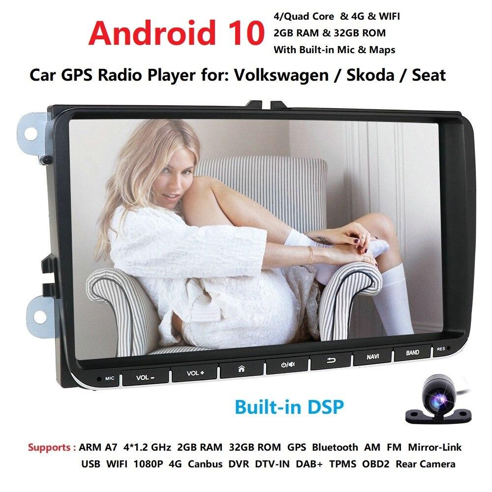 2din 4g android 10 carro estéreo rádio 9 Polegada hd 1024*600 tela quadcore monitor gps para v w passat golf polo cc j etta skoda assento