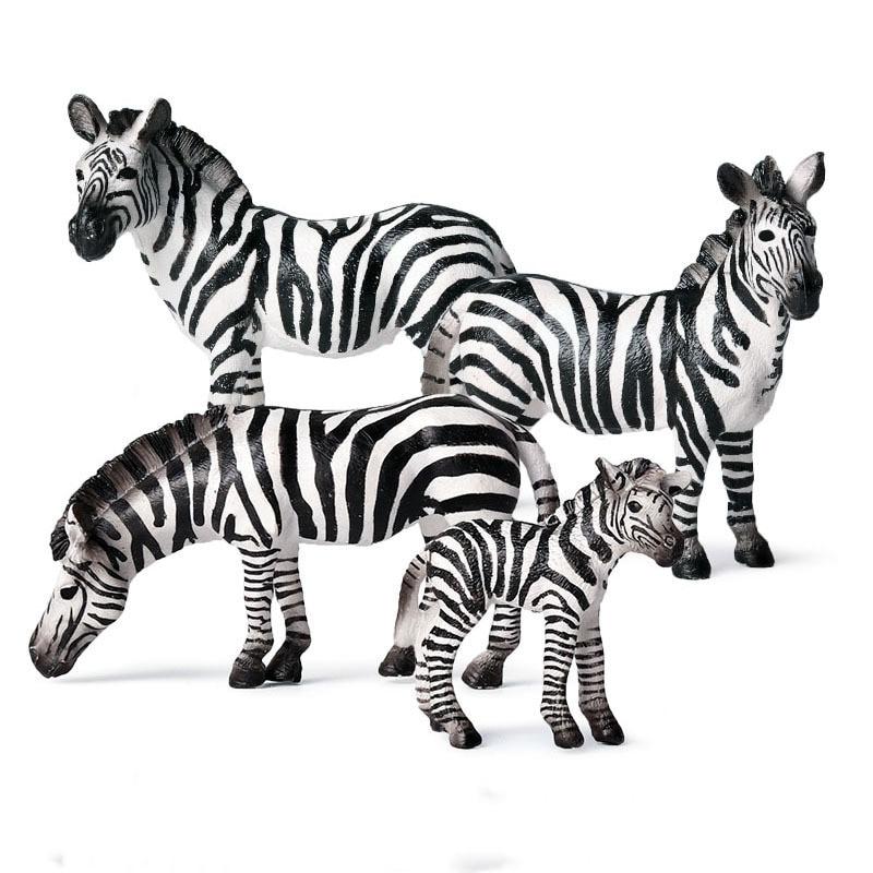 4PCS/Set Simulation wild animal model mini zebra suit plastic solid hand-made ornaments childrens cognitive toys