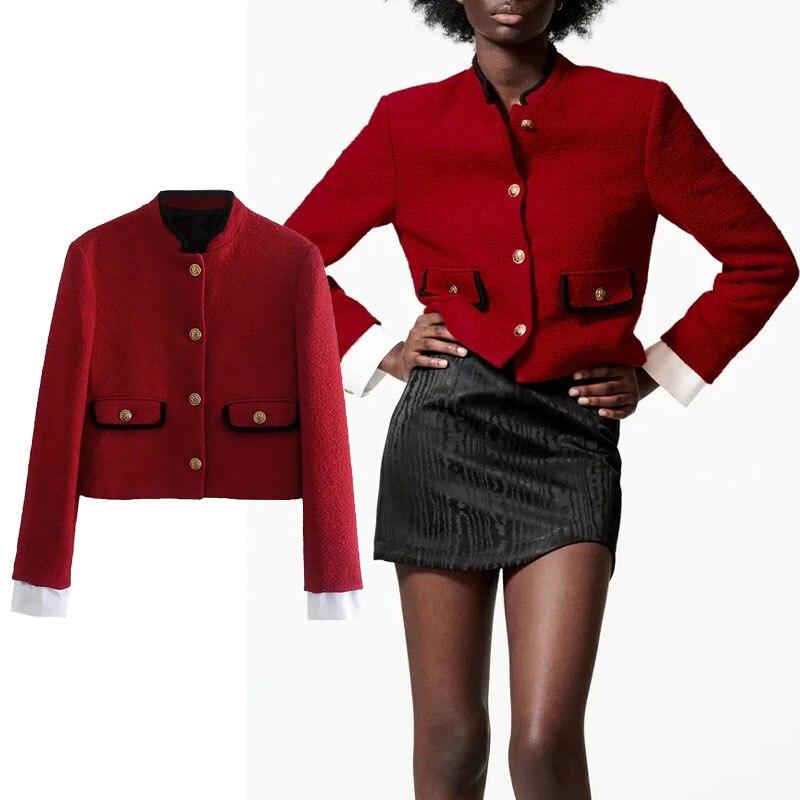 Za سترة النساء 2021 الخريف مكتب الموضة واحدة الصدر معطف Splicing الربط طويلة الأكمام ملابس خارجية الإناث غير رسمية شيك القمم