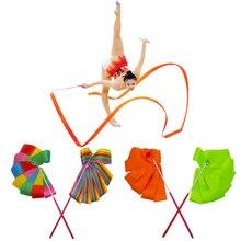 4M coloré Gym ruban danse ruban rythmique Art gymnastique Ballet Streamer Twirling tige bâton pour Gym formation T
