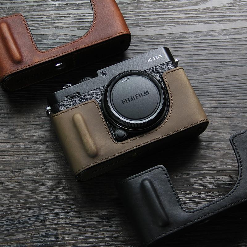 اليدوى كاميرا فوتوغرافية جلد طبيعي جلد البقر حقيبة صندوق الجسم الحال بالنسبة فوجي فيلم فوجي xe4 XE-4 X-E4 واقية كم صندوق