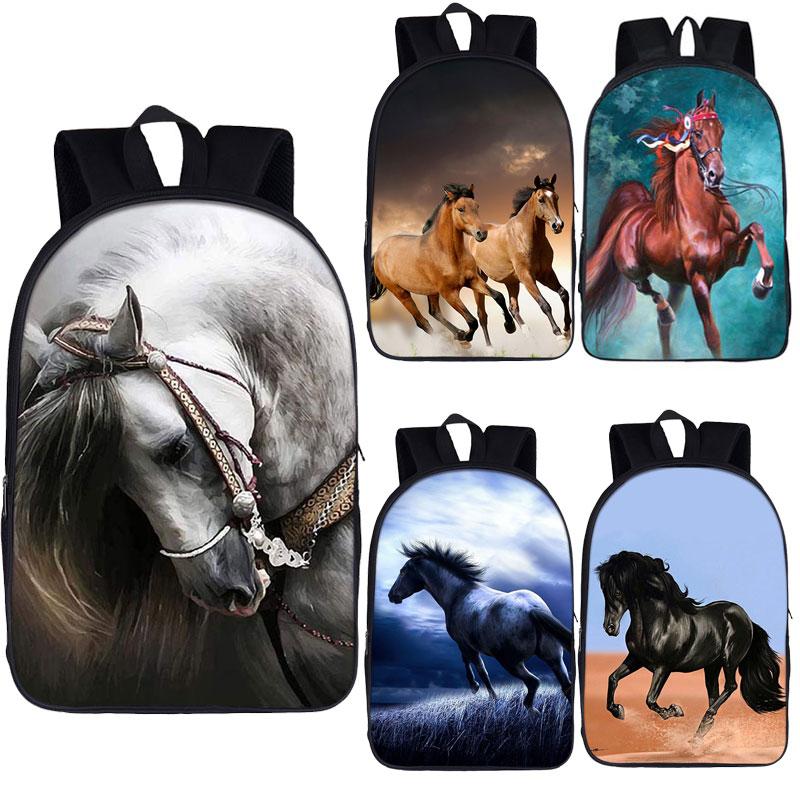 حقيبة ظهر أنيقة بطبعة حصان ، للأولاد والبنات ، للمدرسة ، الكمبيوتر المحمول ، للجنسين