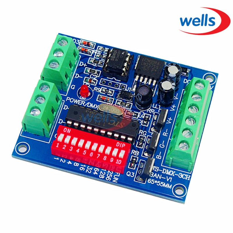 DMX512 3CH 4CH 6CH 8CH 12CH 18CH 24CH 27CH, controlador LED, voltaje constante, controlador de atenuador de ánodo común, 5 ~ 24V