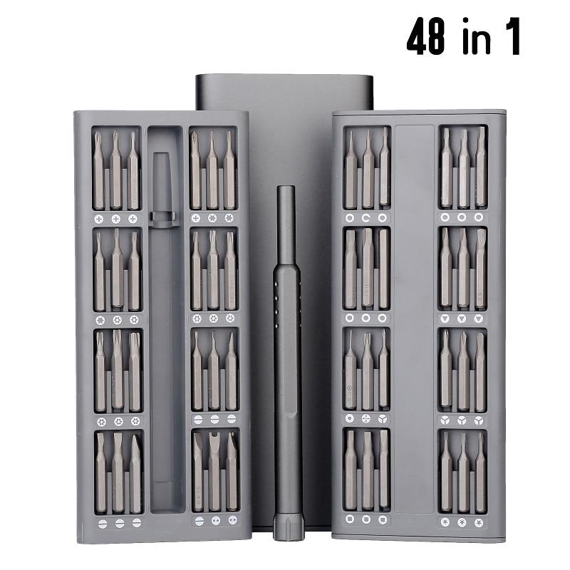 48 en 1 Mini juego de destornilladores de precisión magnética brocas Torx equipo de herramientas de reparación de teléfonos de ordenador herramienta de mano de dispositivo electrónico