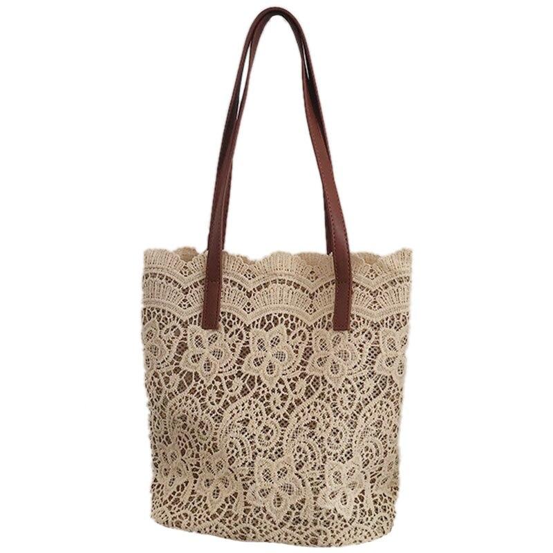 JHD-Bolso de hombro a la moda para mujer, bolso grande de encaje para mujer, bolso Floral para mujer, bolso de compras de lujo para mujer, bolsos de señora (Champagne)