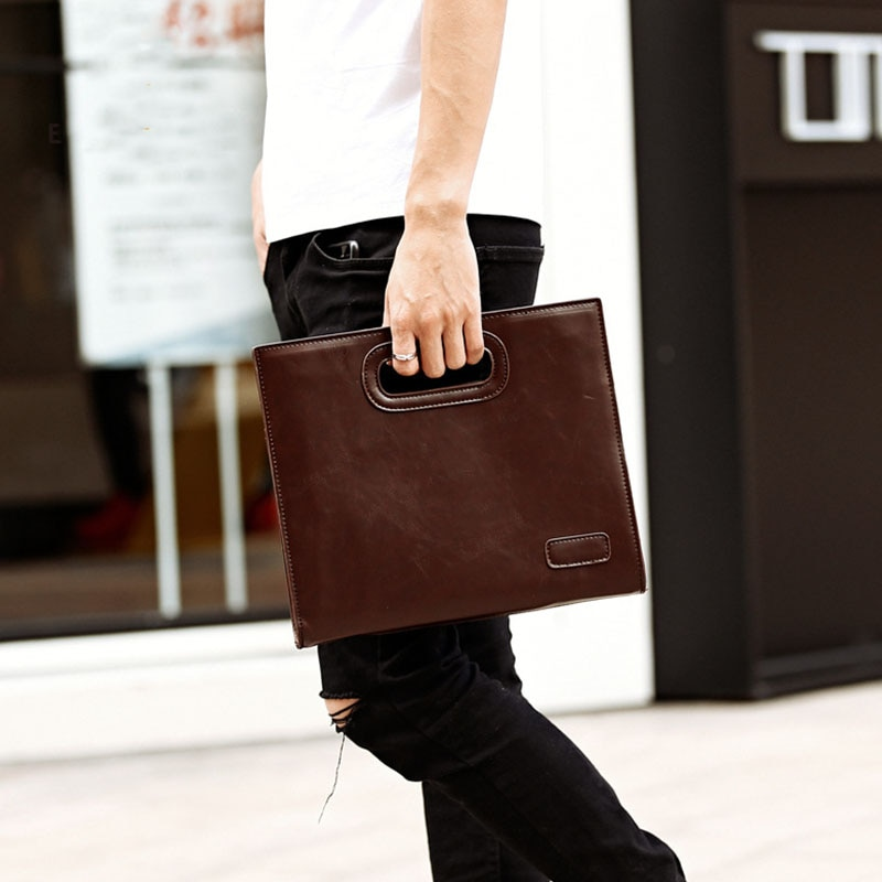 Men's Tablet Bags Envelope Bag Simple PU Leather Business Clutch Package Casual File Organization St