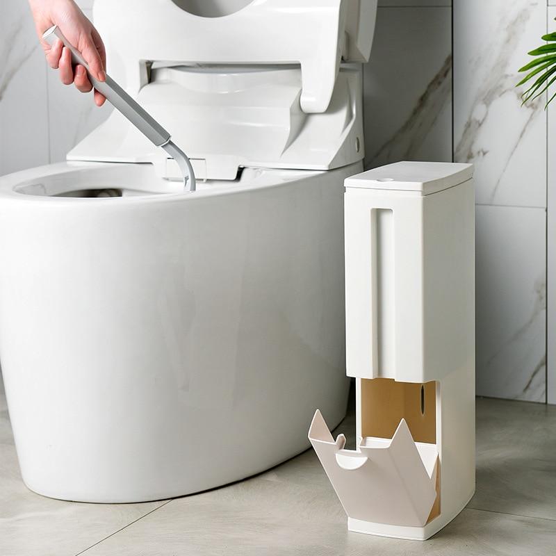 Narrow Trash Can Toilet Brush Set Bathroom Plastic Waste Bin Dustbin Kitchen Garbage Bucket Trash Bin Household Cleaning Tools enlarge