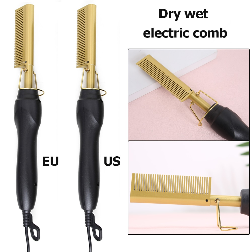 2 in 1 Hair Straightener Curler Wet Dry Electric Hot Heating Comb Hair Smooth Flat Iron Straightenin