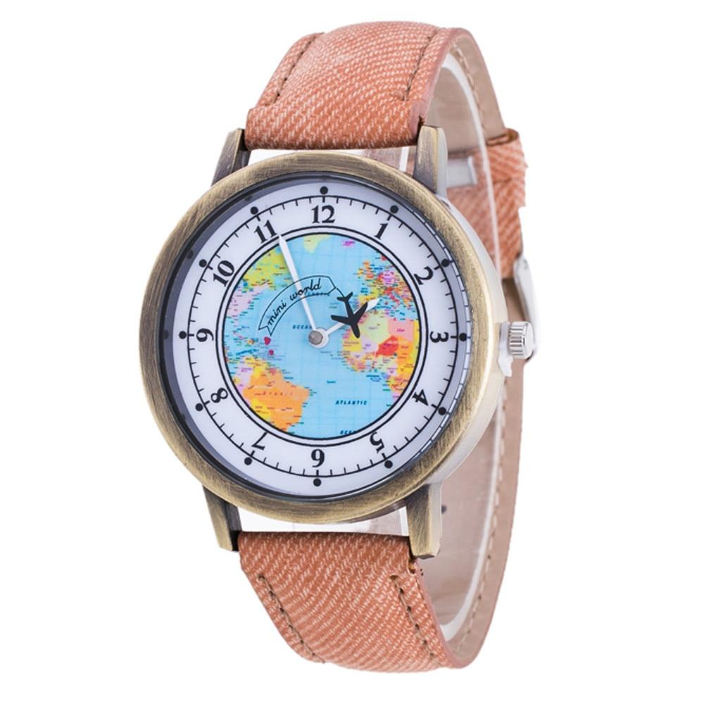 Womens World Map Cowboy Band Analog Quartz Wrist Watch Dress Clock Round Dial Statement Wristwatches Reloj de mujer de moda#2
