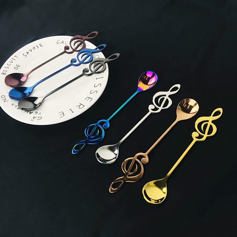 SPKLIFEY 7 kolorów łyżki Rainbow łyżeczka do herbaty zestaw na spotkanie przy herbacie 6 sztuk/zestaw kształt muzyki łyżeczka do kawy ze stali nierdzewnej kuchnia rzeczy