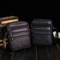 mens bags oblique pure leather bag single shoulder bag business casual bag head layer cowhide business man bags