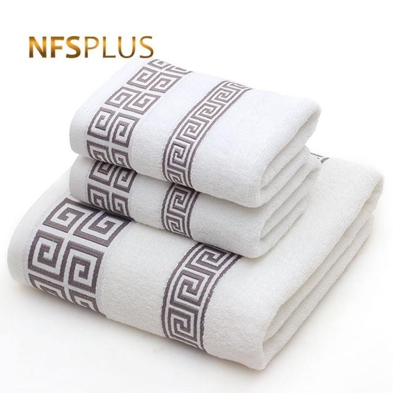 مجموعة منشفات من القطن للكبار 2 الوجه منشفة اليد 1 منشفة استحمام الحمام بلون أزرق أبيض تيري منشفة السفر مناشف رياضية