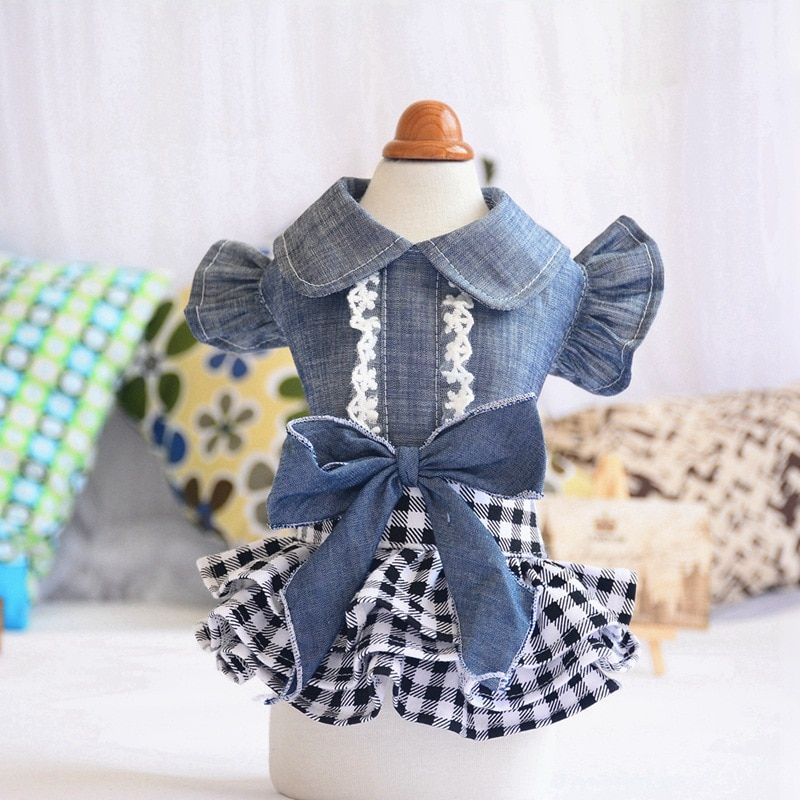 Spring Summer Pet Dog Clothes Chihuahua Denim Lace Wedding Dresses for Small Medium Dogs Puppy Party Bowknot Sweety Skirt