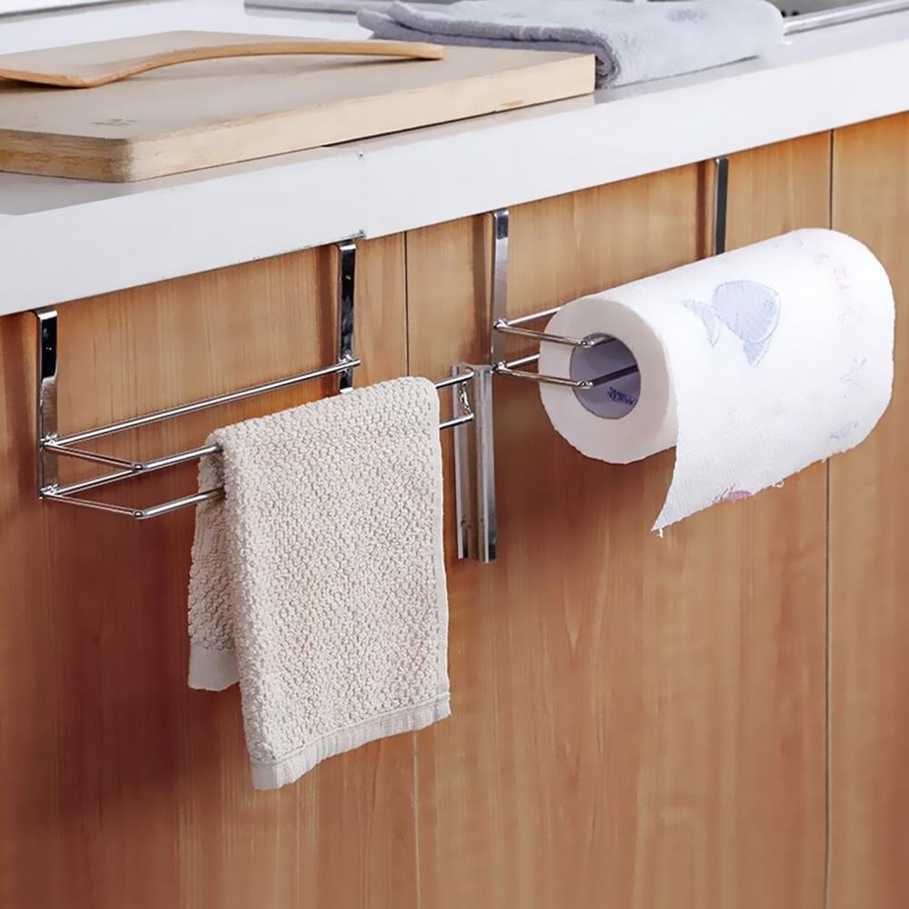 Home Kitchen Paper Holder Hanger Tissue Roll Towel Rack Bathroom Toilet Sink Door Hanging Organizer Storage Hook Holder Rack