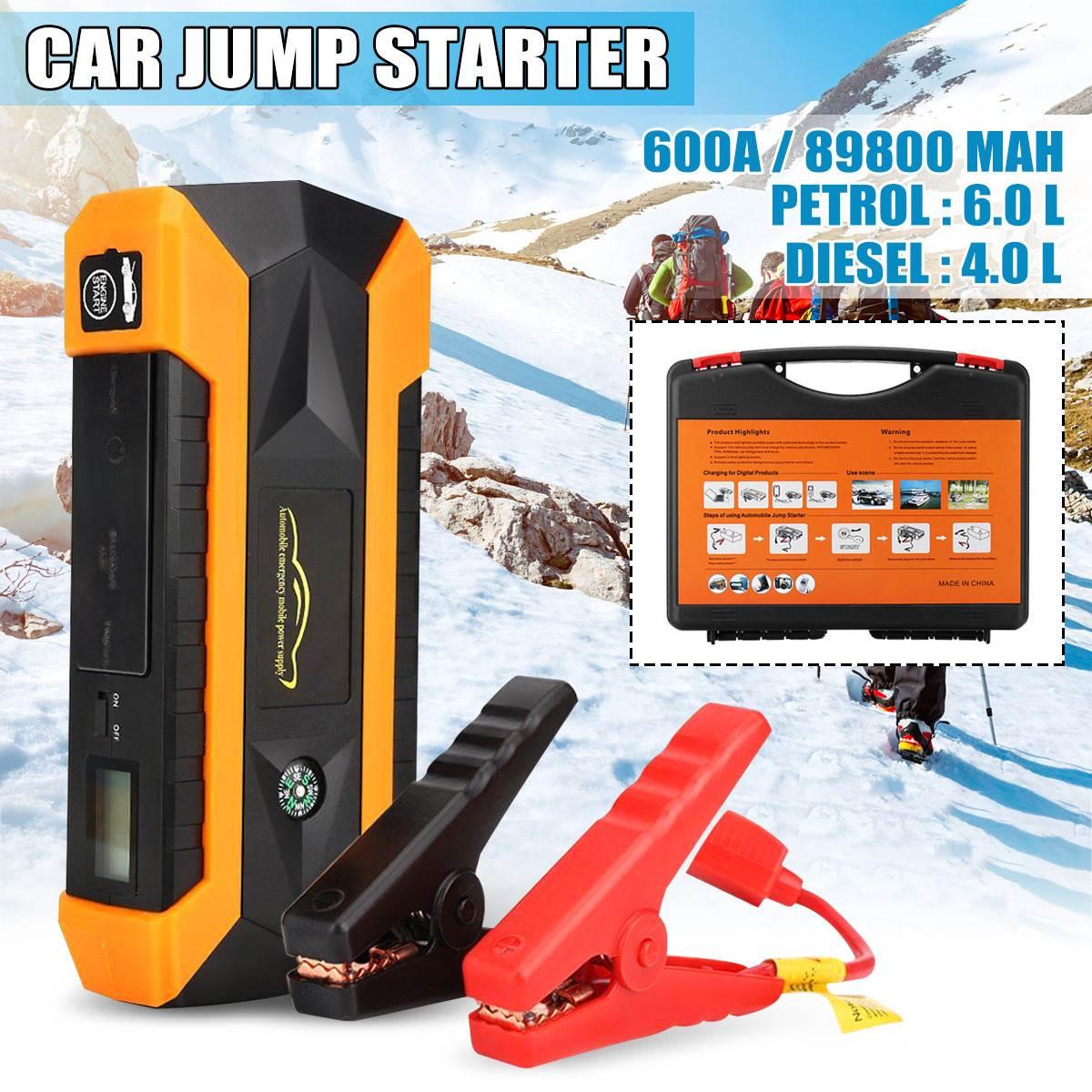 Démarreur de saut de voiture de 4 USB LED 89800mAh 600A 12V/16/19V démarreur de secours de véhicule portatif dispositif de démarrage de propulseur de voiture de batterie externe