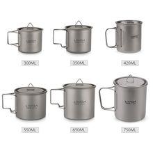 Lightweight Titanium Flatware Set Folding Spork Spoon Water Cup Mug Tableware Outdoor Cookware Dinner for Travel Camping