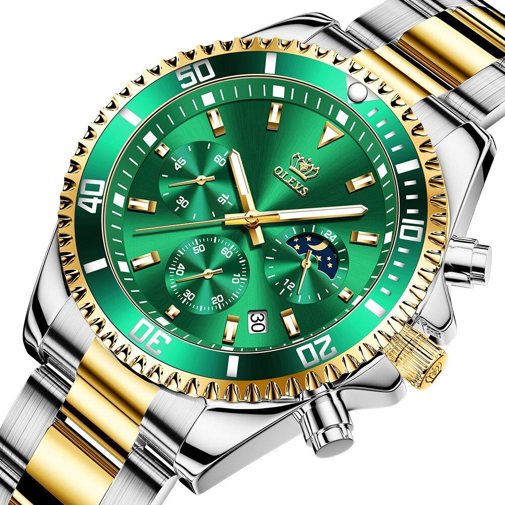 Marca de Luxo Relógio para Homem Relógio Masculino Topo Melhor-venda Multi-função Automático Cronógrafo Três-olho Verde Água Ghost