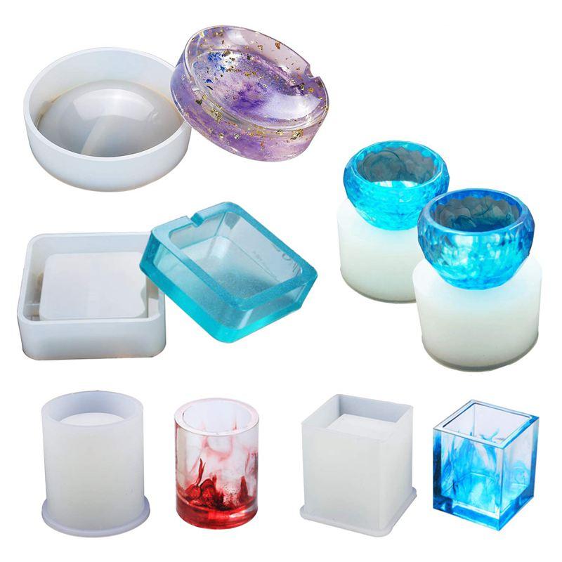 Moldes de Resina de silicona para arte de resina, entre los que se incluyen moldes redondos, cuadrados, cilíndricos, pequeños cuencos, moldes de silicona para hormigón, posavasos Diy/maceta