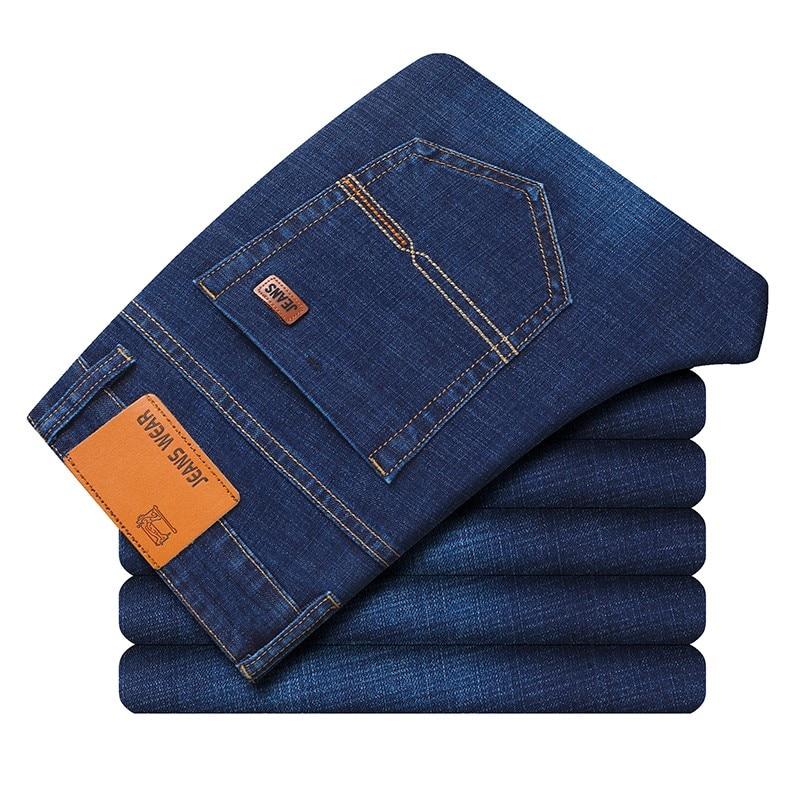 Новинка 2021, мужские облегающие Стрейчевые прямые джинсы, модные деловые классические джинсы, джинсовые брюки, мужские винтажные джинсы