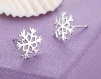 summer autumn style silver plated women favorite snowflake ear stud earrings classic christmas love gifts