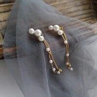 2021 new fashion long tassels sweet earrings women temperament fine pearl joker earrings elegant jewelry