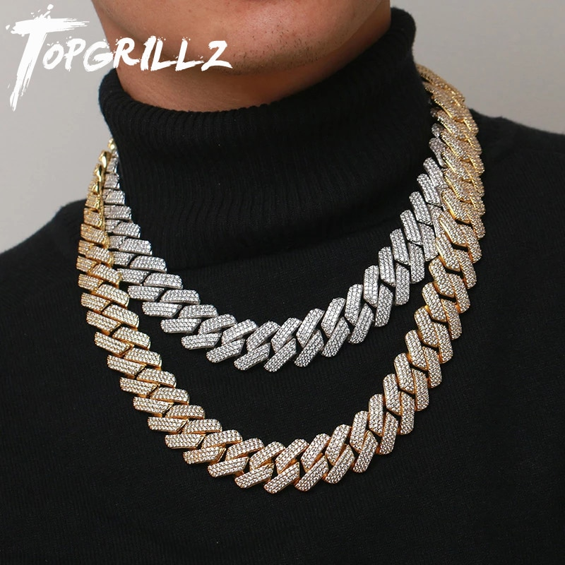 Get TOPGRILLZ 20 MM 3 Row Zirconia Prong Link Necklace in White Gold Iced Micro Pave CZ Cuban Chain Hip Hop Fashion Jewelry For Men