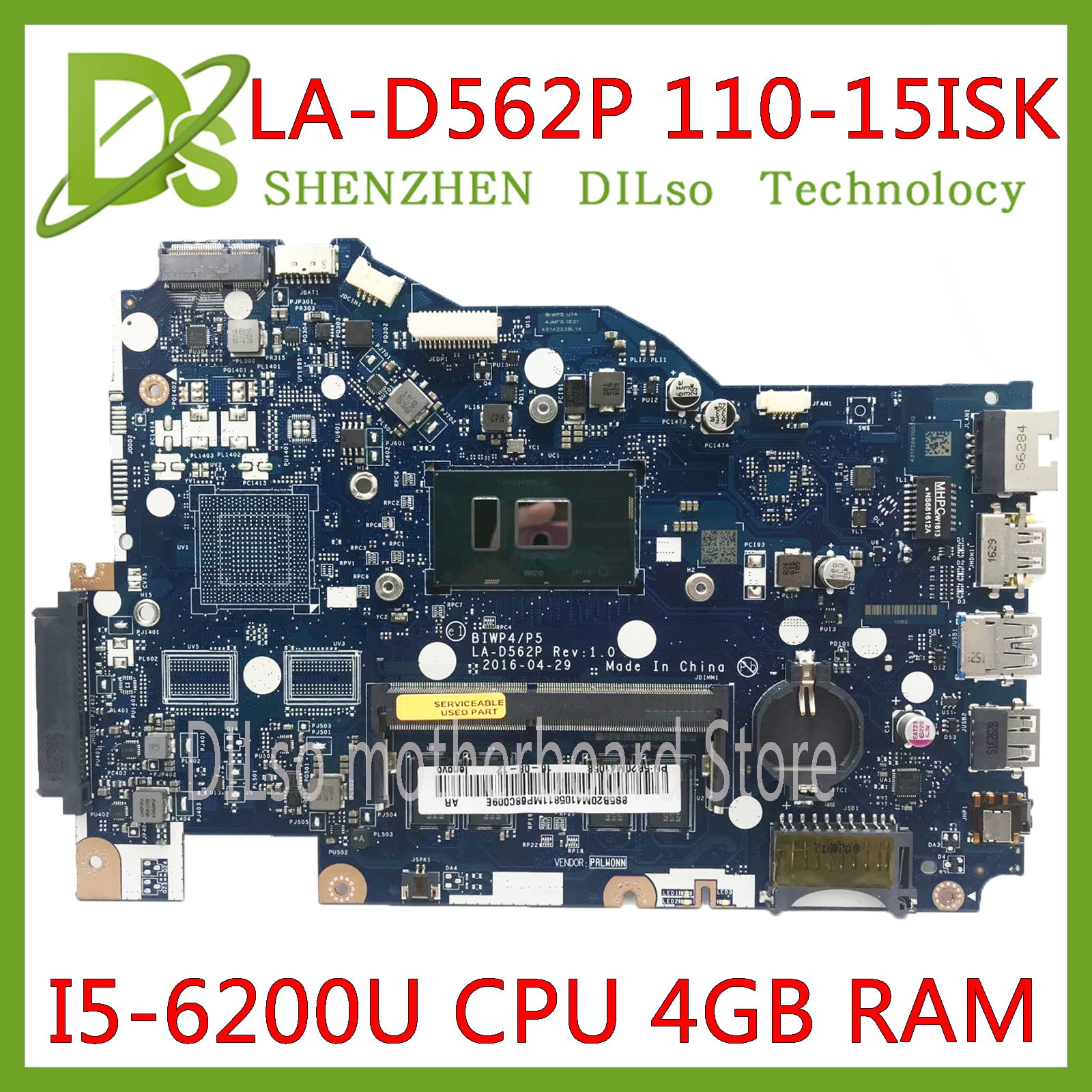 KEFU LA-D562P placa base para Lenovo 110-15isk placa base de computadora portátil LA-D562P I5-6200u CPU 4GB prueba de trabajo 100% original