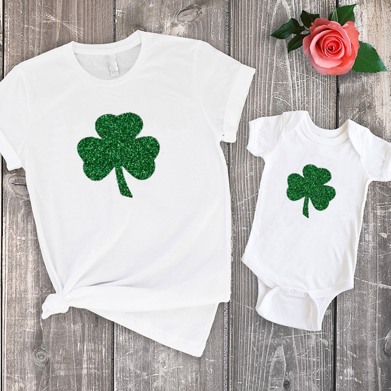 Patricks Day Mother and Daughter Clothes Irish Tee St. Pattys Day Big Sister Family Matching Clothes Fashion Floral Tshirts